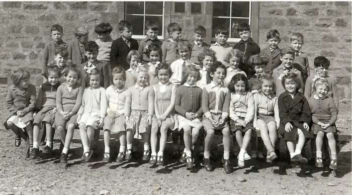 Hilton School 1959. Back Row, left to right ,as viewer looks, John Vass, Robert Renz, Frederick Ross, not known, Shoras MacKay, Andrew Vass [Main], John Smith, William Ross [Chats], Ian Horn, William Paterson, Tommy Mackenzie. Middle Row. David Cupar Vass, Jimmy Sangster, Sheena Robertson, Anne Ross, Kay Sutherland, Valerie Sutherland, Karen Anderson, Margot Ross, Douglas Vass, David Wood. Front Row. not known, Jean MacKay, Sheila MacKay, not known, Sandra MacLennan, Margaret Skinner, Oona Ross, Isobel Mackenzie, Margaret Smith, Maria Mutinelli, not known, Betty Ross, Diana Skinner.