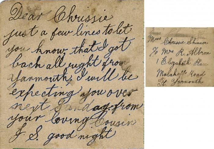 Chrissie postcard from herring fishing