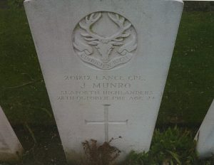 James Munro, gravestone, ww1