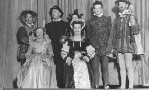 Hilton dramatic team, February 1939, Tain Festival. Back Row, left to right, as viewer looks. Alisdair MacKay, Gordon Crawford [Headmaster], Emma Oliver, Murdo McRae, not known. Front Row. Joey MacKay, Sybil Tarrel.